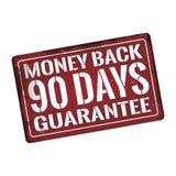 Waarborgen de geld achter 90 dagen Antiquiteiten uitstekend roestig metaalteken, vectorillustratie vector illustratie