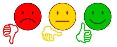 Waardevaststelling door emoticons - voor voorraad stock illustratie