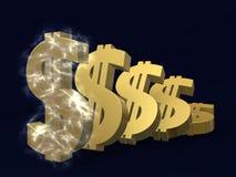 Waardevermindering van de dollar Stock Afbeeldingen
