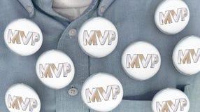 Waardevolste Speler Person Buttons Pins Shirt van MVP de Stock Fotografie