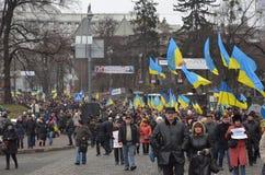 Waardigheid Maart in het Oekraïense kapitaal Stock Foto