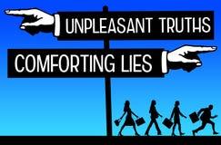 Waarheid en leugens Stock Foto