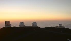 Waarnemingscentra op Mauna Kea Hawaï Royalty-vrije Stock Foto
