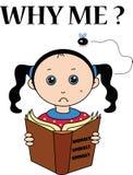 Waarom me beeldverhaal van een meisje met droevige uitdrukking vector illustratie