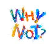 Waarom niet? De brieven van de plonsverf Stock Fotografie