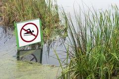 Waarschuw geen het zwemmen Stock Afbeeldingen