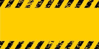 Waarschuwen de gele zwarte diagonale strepen van het waarschuwingskader grunge, vectorgrungetextuur voorzichtigheid, bouw, veilig royalty-vrije illustratie