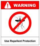 Waarschuwend, Belemmerd teken met mug met Het virus van eindezika Eindemalaria Eindeknokkelkoorts stock illustratie