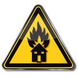 Waarschuwing, brandhuis en brandbeveiliging royalty-vrije illustratie