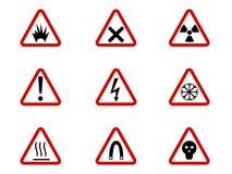 Waarschuwing en gevaarsymbolen bij de driehoeken vectorinzameling Veiligheid en voorzichtigheid, illustratie van de risico de waa royalty-vrije illustratie
