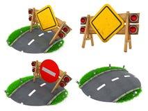 Waarschuwing Roadsigns - Reeks 3D Illustraties Stock Afbeeldingen