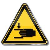 Waarschuwing van verwonding aan handen stock illustratie