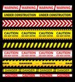 Waarschuwing, veiligheid en voorzichtigheidslinten en banden vector illustratie