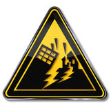 Waarschuwingsaardbeving en aardbevingsgebied Royalty-vrije Stock Foto