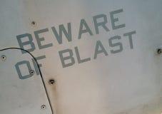 Waarschuwingsbericht op militaire vliegtuigen stock afbeeldingen