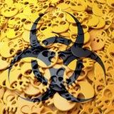 Waarschuwingsbord biohazard, zwarte, gele schedels Royalty-vrije Stock Foto