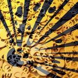 Waarschuwingsbord explosieve, zwarte, gele schedels vector illustratie