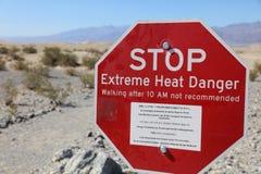 Waarschuwingsbord in het Nationale Park van de Doodsvallei californië Royalty-vrije Stock Afbeelding
