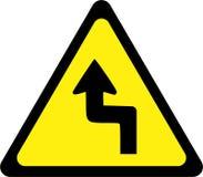 Waarschuwingsbord met gevaarlijke krommen stock illustratie