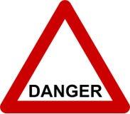 Waarschuwingsbord met gevaarstekst vector illustratie