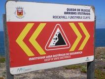 Waarschuwingsbord op Zilveren Kust in Portugal Royalty-vrije Stock Foto