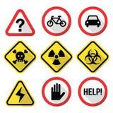 Waarschuwingsborden - gevaar, risico, spanning - vlak ontwerp Stock Fotografie