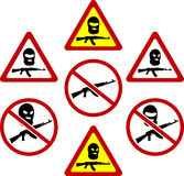 Waarschuwingsborden van terrorisme Royalty-vrije Stock Foto's
