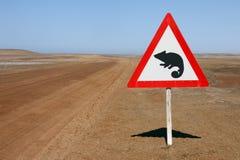 Waarschuwingssein - Kameleonen - Namibië stock fotografie