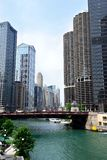 Wabash Avenue Bridge in Chicago. Chicago tourism ad of Wabash Bridge and Chicago river. Chicago architecture ad. Marina towers ad royalty free stock images