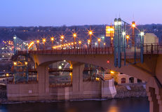 Wabasha Street Bridge at Night in Saint Paul Royalty Free Stock Photography