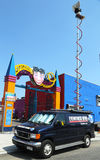 WABC Channel 7 Eyewitness news van in front of Luna Park in Brooklyn Royalty Free Stock Image