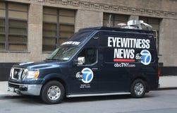WABC Channel 7 Eyewitness news van near terror attack crime scene in lower Manhattan in New York. Stock Image