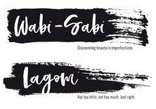Wabi Sabi, Lagom, ensemble de vecteur Photo libre de droits