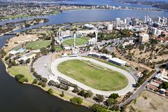 WACA Ground. Aerial View of the WACA ground and Gloucester Park stock image