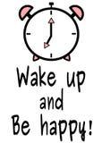 Wachen Sie auf und seien Sie Hintergrund-Kartenillustration des glücklichen Motivzitatschwarzen weiße rosa Lizenzfreies Stockfoto