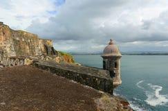 Wachkasten bei Castillo San Felipe del Morro, San Juan Stockbild