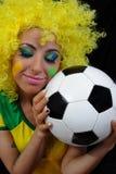 wachluje żeńską piłkę nożną Fotografia Royalty Free
