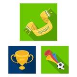 Wachluje i atrybut płaskie ikony w ustalonej kolekci dla projekta Sporta fan symbolu zapasu sieci wektorowa ilustracja royalty ilustracja