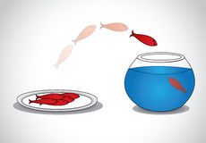 wachsame junge Fische, die von der Platte von toten Fischen zur Glasschüssel entgehen Lizenzfreie Stockbilder