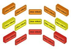 Wachsame Mitteilung Zika-Virus in der roten, orange, gelben Form Stockfoto