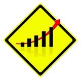 Wachsen Sie Diagramm im Verkehrszeichen auf Stockbilder