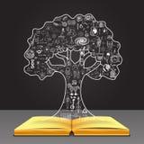 Wachsen Sie Ihr Wissenskonzept Bildung kritzelt in der Baumform auf offenem Buch Stockfoto