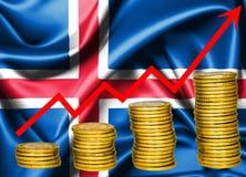 Wachsende Island-Wirtschaft, Konzeptillustration Stockbilder