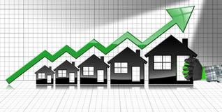 Wachsende Real Estate-Verkäufe - Diagramm mit Häusern Stockfotos