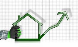 Wachsende Real Estate-Verkäufe - Diagramm mit Haus Stockbild