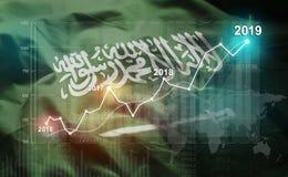 Wachsende Statistik Finanz-2019 gegen Saudi-Arabien Flagge vektor abbildung