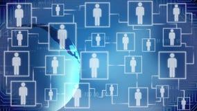 Wachsende Zahl von Benutzern des Sozialen Netzes, Erdkugel, die auf blauen Hintergrund spinnt vektor abbildung