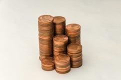Wachsender Berg von Münzen in der Bezeichnung von zwei Eurocents auf weißem Hintergrund Stockbilder