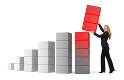 Wachsender Erfolg der Geschäftsfrau - Diagramm 3d Stockfoto