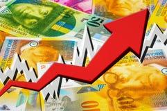 Wachsender Pfeil mit Geldhintergrund der Schweizer Franken Stockfotografie